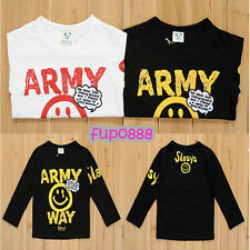 Kids Toddler Boys Girls Clothes Long Sleeve Basic Tee T-shirt Tops Army Way#T175