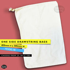 DRAWSTRING BLANK CALICO BAGS natural cotton bulk lots of 25,50,100,305w x455h mm