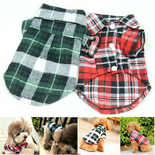 Cute Pet Dog Puppy Plaid T Shirt Lapel Coat Cat Jacket Clothes Apparel Tops