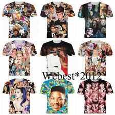 New 2014 Mens/Womens Short Sleeve 3D hot star movie Print T shirt Round top tee