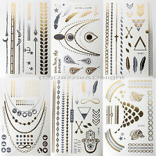METALLIC TATTOO TATTOOS GOLD SILVER TEMPORARY TATTOO PAPER SHEET PACK BRACELETS