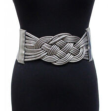 Womens Fashion Wide Corset twisted Belts Faux Leather Elastic Stretch Waistband