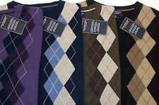 NWT Roundtree & Yorke V-Neck Argyle Cotton Sweater Vest  $69 Purple Olive Green
