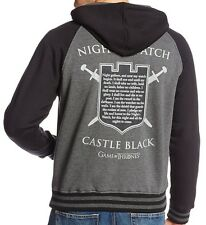 GAME OF THRONES NIGHTS WATCH CASTLE BLACK SHIELD ZIP HOODIE SWEATSHIRT S-XXL