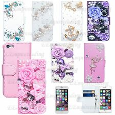 For iPhone 6 4.7 handmad Luxury 3D Bling Crystal Flip Wallet Leather Stand Case
