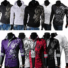 2016 Men's Casual Dragon Printed Tops Fitted Hoodies Sweater T-Shirt Sweatshirts