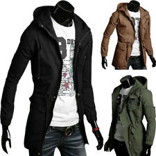 Military Modern Men Hooded Outwear Coat Slim Long Jacket Overcoat Parka S M L XL