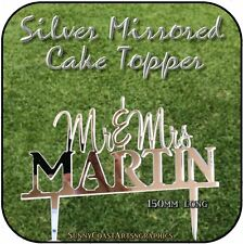 COLOUR / MIRROR CAKE TOPPERS - PERSONALISED ACRYLIC WEDDING ANNIVERSARY BIRTHDAY