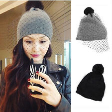 Warm Winter Women Ladies' Knitted Crochet Retro Face Veil Mesh Hat Beanies Caps