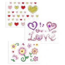 New Triple Pack Glitter Stickers for iPhone/Smartphone- Flower/Heart/Love