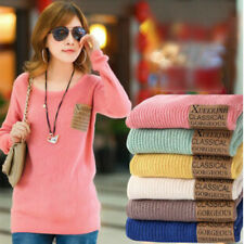 Women Loose Knitted Sweater Jumper Long Sleeve Crew Neck Pullover Outwear Tops