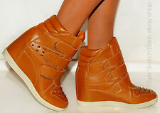 LADIES WOMENS FASHION TAN STUDDED WEDGES WEDGED VELCRO HI TOP TRAINERS SNEAKERS
