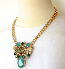 Jcrew Inspired Statement Necklace Flower Necklace Drop Necklace Gold Chain