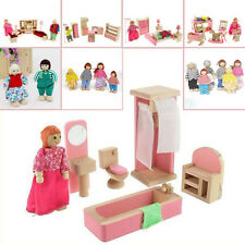 Pink Wooden Furniture Dolls House Miniature 6 Room Set Dolls For Kids Children