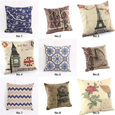 "New Blue Vintage Home Decor Back Cushion Cover Throw Pillow Case 18"" Sofa Floral"