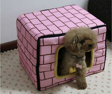 Pet Bed Vintage Brick Dog House 3 Way Use Sofa Bed Puppy Cat Cushion Kennel SML