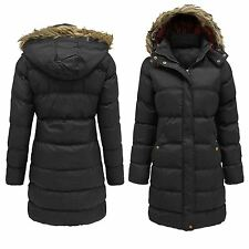 New Ladies Thick Padded Winter Coats Fur Hooded Long Parka Jackets 10-18