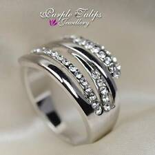 Fashion Stylish Twisted SWAROVSKI Crystal Ring W/ 18K White Gold Plated