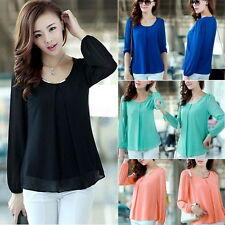 Korean Fashion Women Loose Chiffon Tops Long Sleeve Shirt Casual Blouse M2