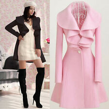 Winter Women's Cashmere Trench Slim Warm Coat Long Wool Jacket Outwear Parka