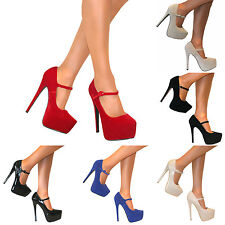 WOMENS MARY JANE PLATFORM EXTREME STILETTO HIGH HEELS COURT STRAPPY SHOES SIZE