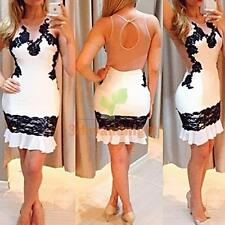 New Sexy Women Lace Backless Bodycon Cocktail Party Evening Short Mini Dress NIG