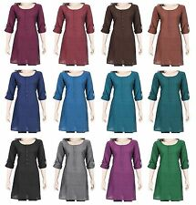 Ethnic Indian Cotton Kurta Kurti Top Tunic Dress Front Buttons Full Sleeves