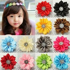 5/30PCS  Upick satin ribbon flowers bows with Appliques Craft DIY Wedding