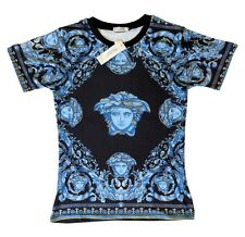 Brand New Authentic Blue Gold Versace T-Shirt Baroque Medusa Heads M,L,XL,XXL