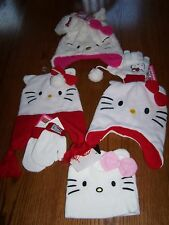 "NWT HELLO KITTY White Winter Hat / Hand Set ""you choose"" TODDLER or GIRL Size"