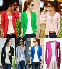 New Women Irregular Hem Long Sleeve Cardigan Knit Sweater Candy Colors Tops TRC