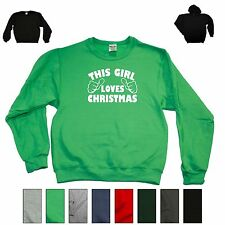 This Girl Loves Christmas Funny Xmas Sweatshirt Ugly Sweater Holiday Gift Hoodie