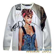Mens Womens 3D Rihanna print first issue Graphic Sweatshirt Hoodie Top Pullover