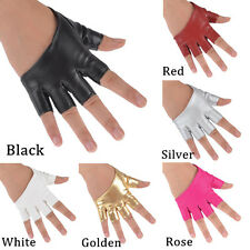 Fashion Women's Half Finger PU Leather Gloves Fingerless Driving Show Pole Dance