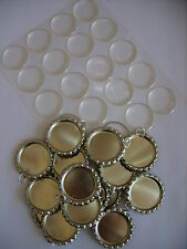 20 Flat Bottle Tops with Split Rings & Epoxy Circles / Bottle Cap Necklace Craft