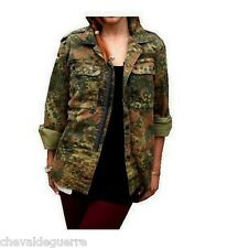 Vintage Women's German army camo jacket coat camouflage military retro f2