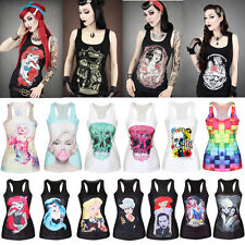 Womens Gothic Graphiti Print Rock Punk Vest Tank Top T-shirt STRETCH Casual Tee