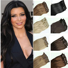 100% Real Natural Full head hair clip in on hair extensions 18 clips Hallowmas