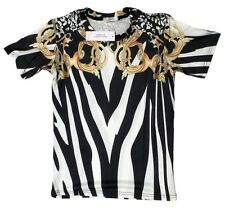 Brand New Authentic Versace T-Shirt Gold Zebra Baroque Details Sizes M