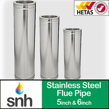 """Stainless Steel Twin Wall Insulated Flue Pipe 250mm 500mm 1000mm 5"""" 6"""" Stoves"""