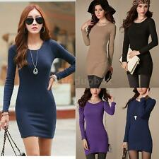 Women Long Sleeve Crew Neck Casual Solid Color Slim Mini Dress
