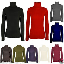 LADIES WOMENS RIBBED LONG SLEEVE TURTLE POLO NECK TOP ROLL NECK TOP JUMPER