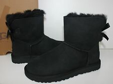 Ugg Mini Bailey Bow Black Suede women's boots New In Box!