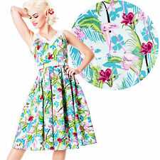 Hell Bunny Larissa Flamingo 50's Dress Rockabilly Pin Up Floral Retro Vintage