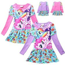 My Little Pony Cotton Costume Top Kids Girls Flower Party Dress Skirt 2-7Yrs CA