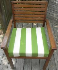 "INDOOR OUTDOOR TEAK PATIO DINING CHAIR SEAT CUSHION - CHOICE OF STRIPE 18""X17"""