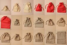 PACK OF 12 NATURAL BROWN JUTE DRAWSTRING BAG, POUCH - GIFT, JEWELLERY, WHOLESALE