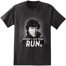 Sherlock Holmes When I Say Run Photo Licensed NWT Adult T-Shirt - Black