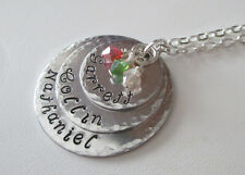 TRIO Beauty w/Textured Aluminum Hand Stamped Custom Birthstone Necklace GORGEOUS