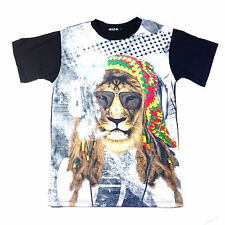 KONFLIC RASTA LION REGGAE PRINT T SHIRT WEED CULTURE MUSIC URBAN WEAR MEN'S